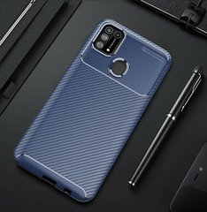 Чехол Premium Carbon для Samsung Galaxy M31 - Dark Blue